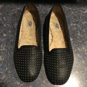 UGG Black Leather Alloway Studded Flat/Loaf Size 8